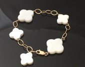 Reserved for LL: White Clover Agate in Gold Filled Chain Bracelet