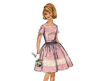 1960s Girls Dress Pattern Full Skirt Dress Summer Sleeveless or Short Sleeve Square Neck Vintage Sewing Pattern Simplicity 5376 Size 10