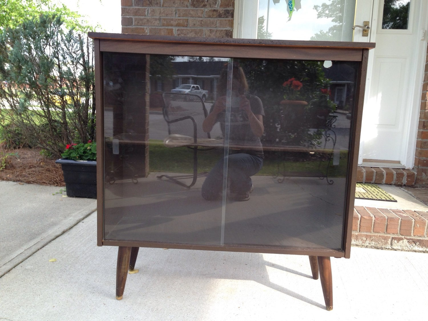 Mid Century Style Bookcase Cabinet With Sliding Glass