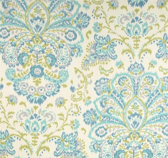 Blue Damask Curtains, Ikat Damask Window Curtains, Blue Green Boho ...