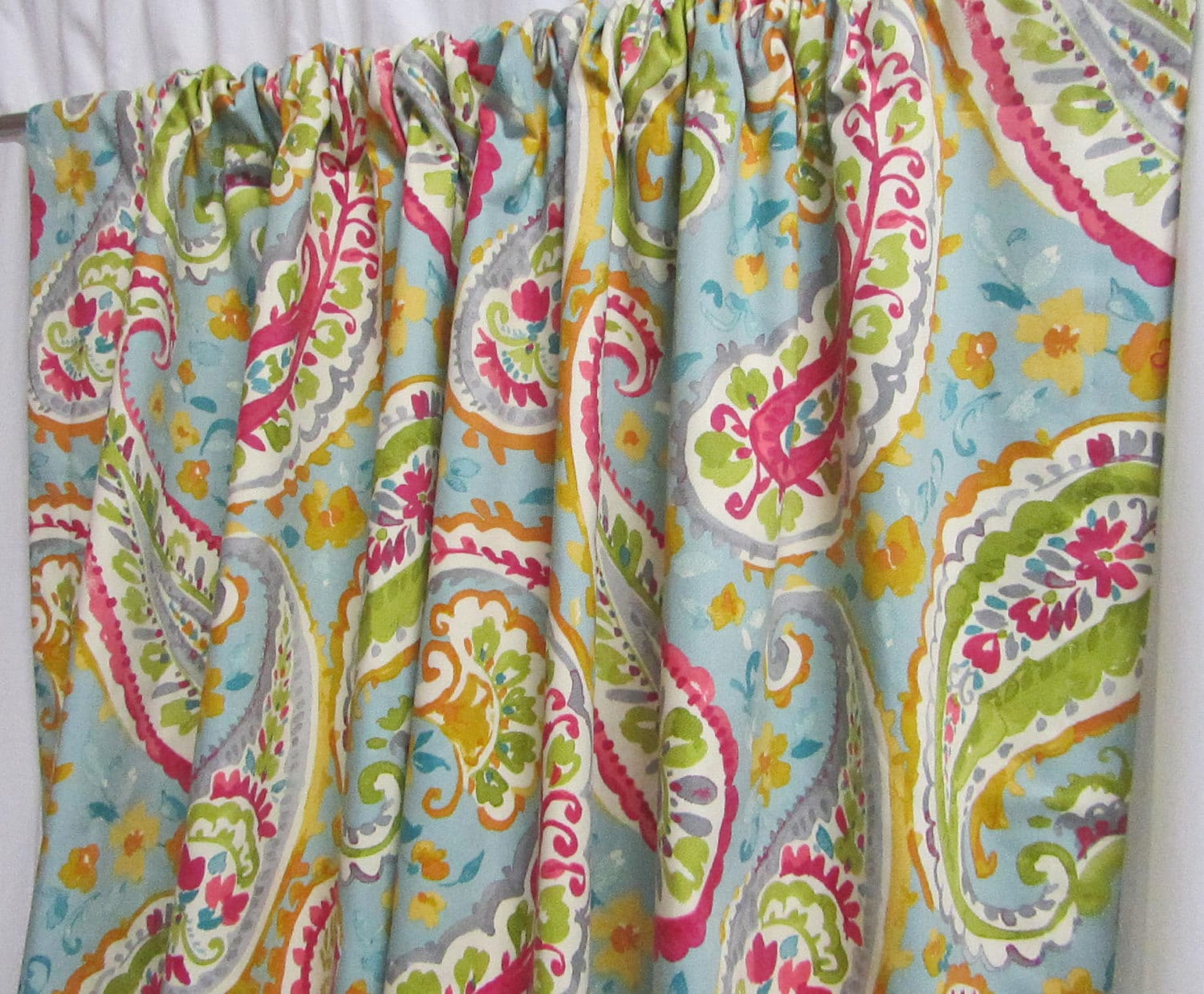 Turquoise Paisley Curtains Girl S Bedroom Decor Tween