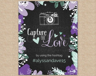 Capture the Love, Hashtag Wedding Sign, Social Media Wedding, Wedding Sign, Wedding Day Sign // Art Print Sign // W-S01-1PS QQ7