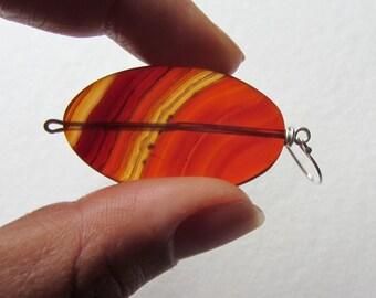 Large Banded Orange Gemstone Earrings - Big Smooth Carnelian Statement Earrings