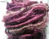 Handspun Hand Dyed Lincoln Longwool Curly Textured Wool Bulky Art Yarn in Pink Red Grape Shades for Knitting Crochet Weave by KnoxFarmFiber