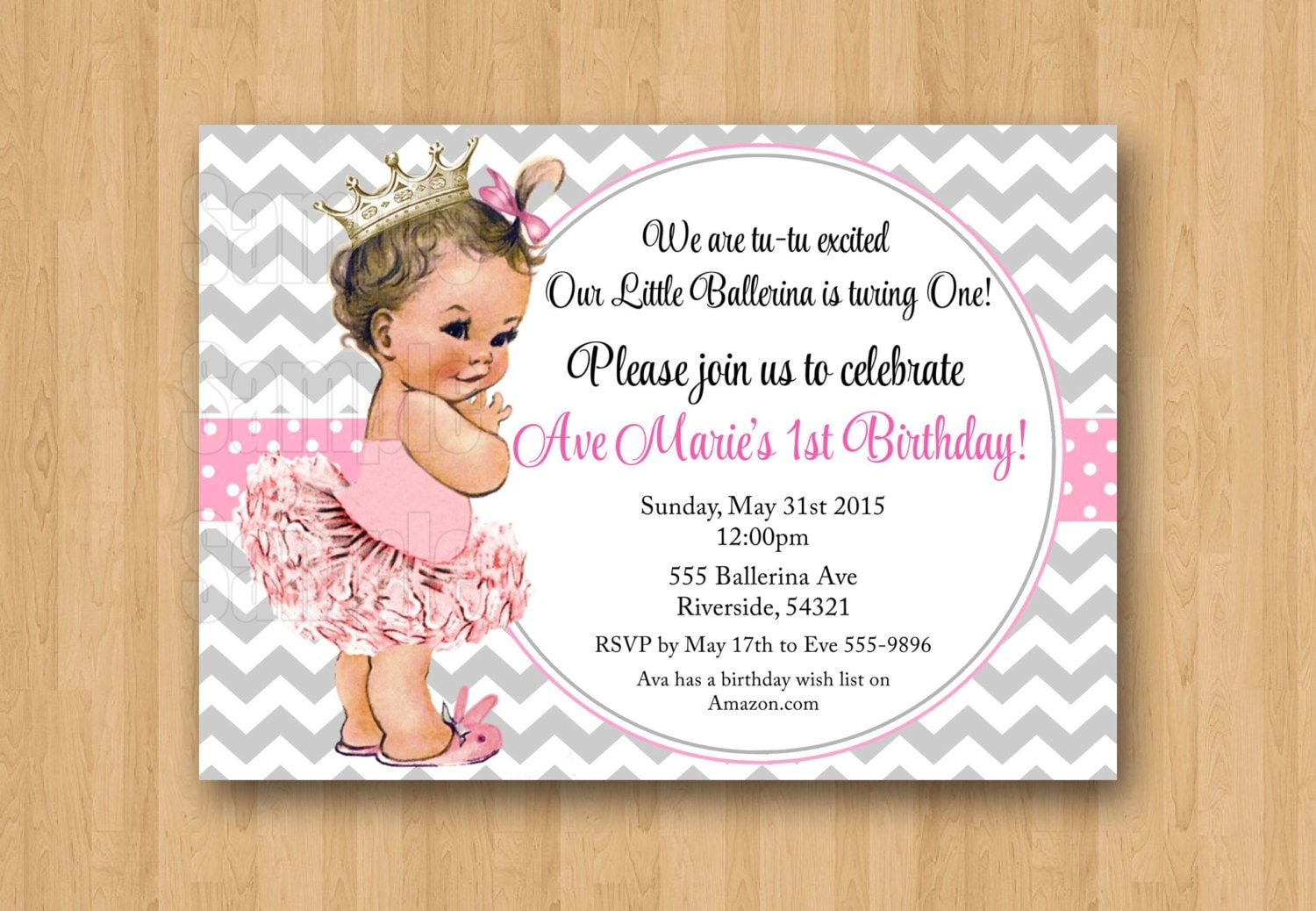 Vintage Baby Girl Ballerina Princess St Birthday Invitation - Vintage girl birthday invitation