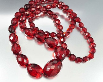 Cherry Amber Bakelite Art Deco Necklace Long Graduated Beads Faceted Vintage 1920s Art Deco Jewelry Flapper Antique Jewelry