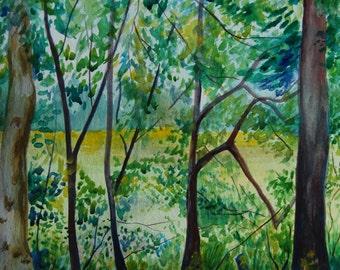 "Watercolor Painting, Original Landscape, Woods, Forest, 11""x15"""