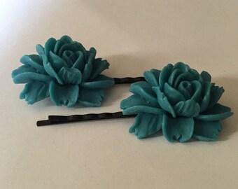 Blue Rose Bobby Pin for Hair