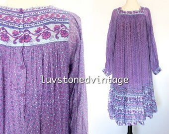 70s Vintage India Ethnic Boho Hippie Cotton Gauze Gypsy Indian Festival Maxi Midi Dress . XS . SM . 970.5.13.15