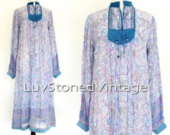 70s Vintage Indian Tent Cotton Boho Hippie Indian Ethnic Festival Midi Maxi Dress | SML | 1011.6.23.15
