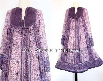 70s Her Excellency Vintage India Tent Cotton Boho Hippie Sheer Indian Ethnic Festival Midi Maxi Dress | XS - SM | D236 l 1037.7.9.15