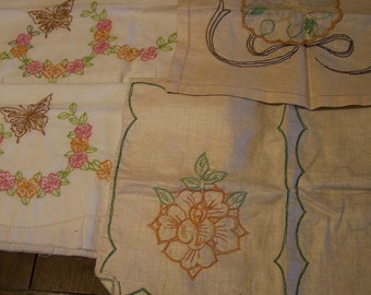 5 Vintage Linen Dresser Scarves, 1940's, Ready to  Embroider, 2 Almost Finished, 3 Ready