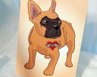 Custom Frenchie Tattoo Greeting Card - Tan with Mask