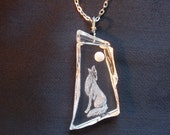 Howling Wolf Necklace, Hand Carved Glass, Etched Glass, Southwest, Moon, Desert
