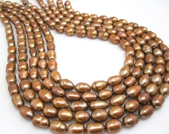 Freshwater Pearl Beads,  Brown Pearls, Potato Shape, SKU 4644
