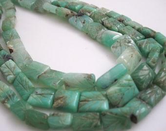 Chrysoprase Beads, Carved Chrysoprase, Green Chrysoprase Stone, SKU 4645A