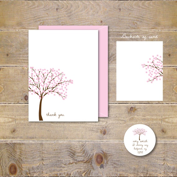 Thank You Cards, Thank You Notes, Cherry Blossoms, Trees, Bridal Shower, Wedding, Personalized Stationery, Stationary, Thank You Card Set