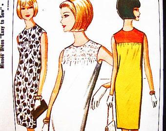 Vintage 1960s Shift Dress Pattern Misses size 10 12  Sleeveless Dress Pattern Easy to Sew Pattern