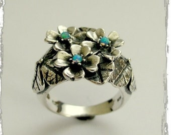 Blue opals ring, silver leaves ring, floral ring, Floral ring,  sterling silver ring, gemstones ring,  botanical ring - Moon garden R1689-1