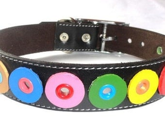 Rainbow Leather Dog Collar in Black and multicolor circles XXL