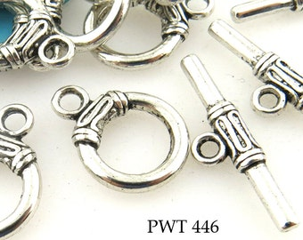 14mm Smooth Pewter Clasp Toggle with Decoration, Antiqued Silve (PWT 446) 6 sets BlueEchoBeads