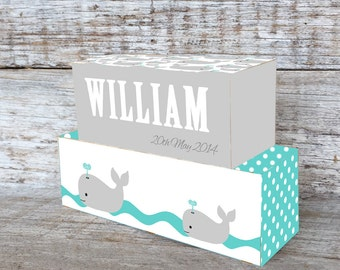 Personalized Wooden Name Blocks Custom Made Whale