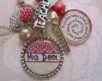 Personalized red and cream Teacher's keychain, end of year gifts