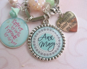 Personalized Sisters keychain in mint green and pink