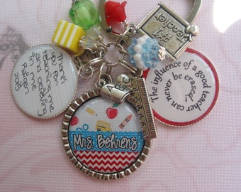 Personalized Teacher's keychain with your child's handwriting thank you quote on a bezel