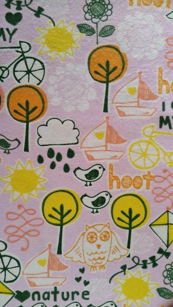 Cotton fabric i heart nature owl birds kite bicycle for Bird nursery fabric