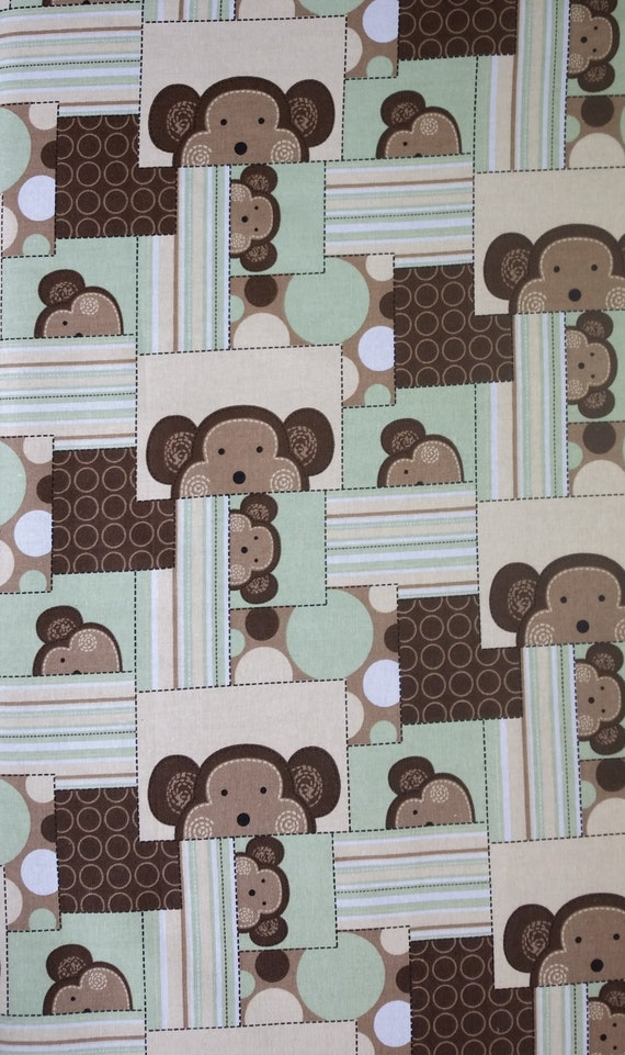 Cotton flannel fabric monkey fun patch nursery cotton children for Nursery monkey fabric
