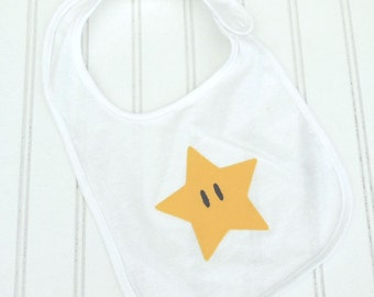READY TO SHIP Super Marios inspired Star 100% cotton bib for baby and toddlers
