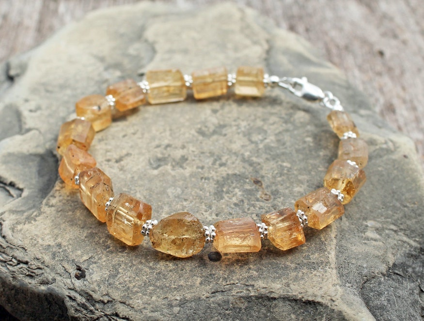 Rare Golden Imperial Topaz Bracelet in Sterling Silver