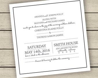 Printable Elegant Square Wedding Invitation or Save The Date