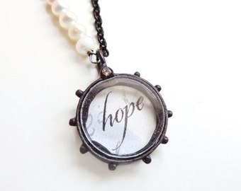 Hope necklace with fresh water pearls - inspirational necklace