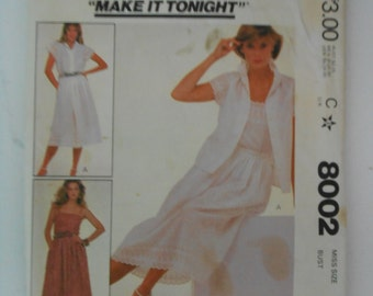 Misses Blouse Camisole and Skirt Pattern McCalls 8002 Size 6 Bust 30 1/2