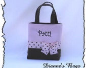 Black / Lavender  Monogrammed/Personalized Tote, Purse, Bridesmaid Gift, Flower Girl, MOB, MOG,Cheer Squad, Brownie