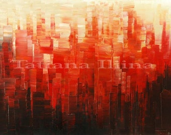 Abstract Art Palette Knife Original Painting Handmade Large Wall Decor red  black - by ILIINA - Made-to-ORDER