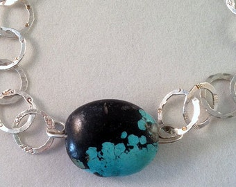 Fine silver hand hammered link necklace with large turquois focal bead