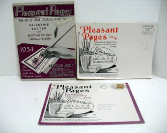 Lot of 3 Pleasant Pages Little Art Shop 1930s Birthday Christmas Easter Valentine & Everyday Card Catalog