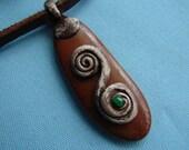 Mediterranean Jasper Touch Stone with Spiral Necklace -- Unique