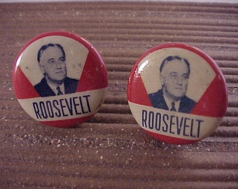 Cuff Links FDR Franklin Roosevelt Vintage Campaign Button - Free Shipping to USA