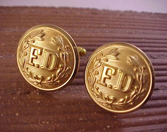 Vintage Fire Department Uniform Button Cuff Links
