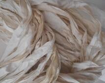 recycled silk  ribbon  knitting crochet craft embellishment yarn