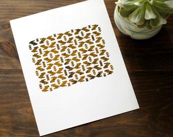 "Distressed Aztec Print // Gold Foiled 8x10"" Wall Art // Weathered Art Print"