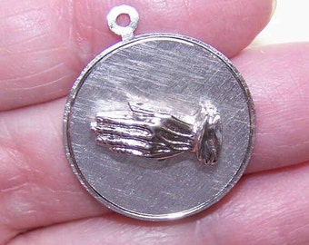 """60s STERLING SILVER Charm - Praying Hands with """"God Grant Me the Serenity"""" Poem"""