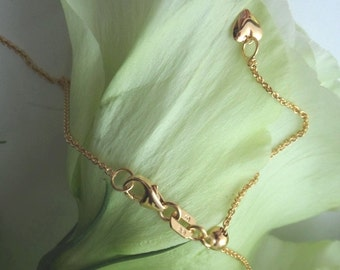 Gold Chain, 18K Yellow Gold Chain, Adjustable Length Solid Gold Chain, up to 18 inches long, with Dangling Charm -- Ready to Ship