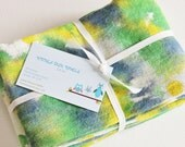 Hand Dyed Kitchen Towels - Flour Sack Tea Towel Set of 2 - Tie Dyed Dish Towels Navy Blue Kelly Green Lime Yellow Lemon White