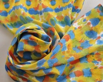 Hand Painted Silk Scarf - Handpainted Scarves Navy Royal Blue Orange Lime Green Lemon Yellow Citrus Sun White Tie Dye Dyed