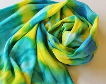 SALE Infinity Scarf - Hand Painted Circle Scarves Lime Green Lemon Yellow Teal Turquoise Blue Royal Batik Bright
